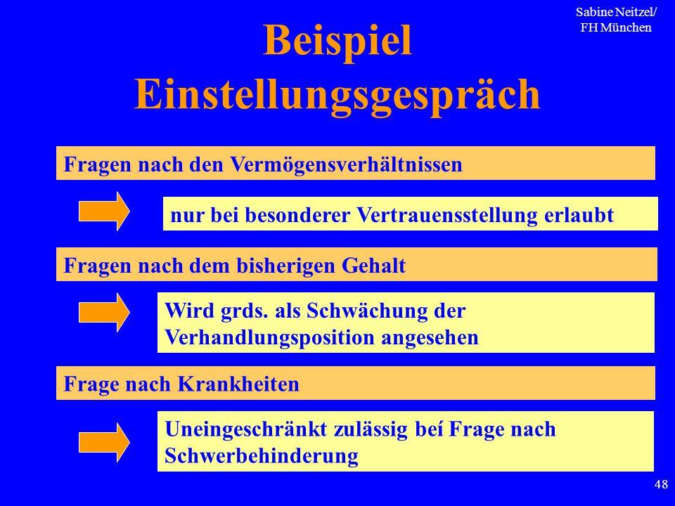 Sabine Neitzel/ FH München 48 Beispiel Einstellungsgespräch Fragen nach den Vermögensverhältnissen Fragen nach dem bisherigen Gehalt nur bei besondere