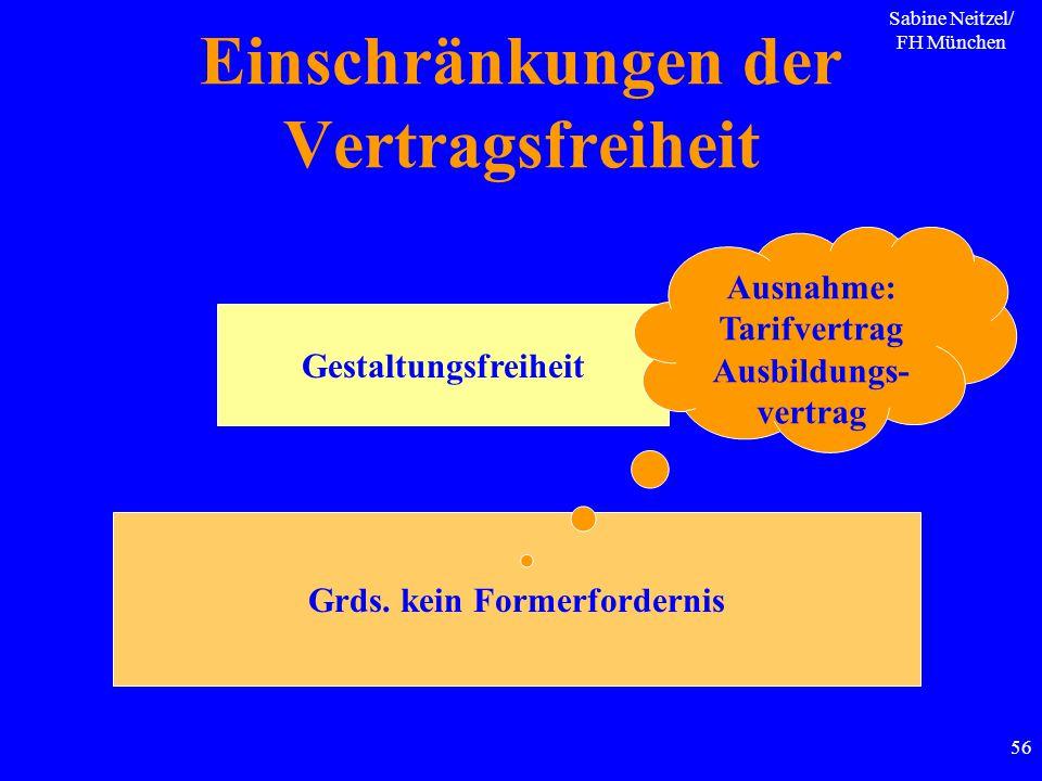 Sabine Neitzel/ FH München 56 Einschränkungen der Vertragsfreiheit Gestaltungsfreiheit Grds. kein Formerfordernis Ausnahme: Tarifvertrag Ausbildungs-