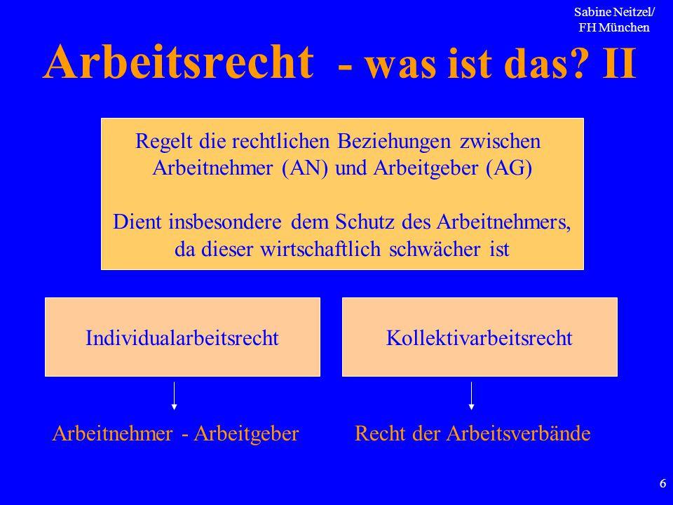 Sabine Neitzel/ FH München 6 Arbeitsrecht - was ist das? II Regelt die rechtlichen Beziehungen zwischen Arbeitnehmer (AN) und Arbeitgeber (AG) Dient i