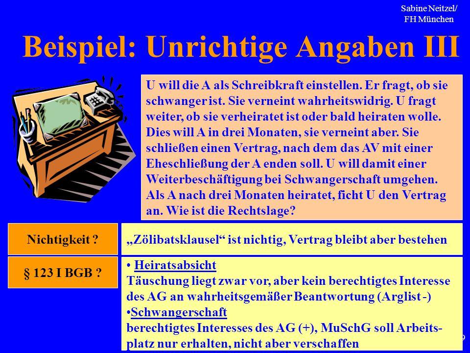 Sabine Neitzel/ FH München 69 Beispiel: Unrichtige Angaben III U will die A als Schreibkraft einstellen. Er fragt, ob sie schwanger ist. Sie verneint