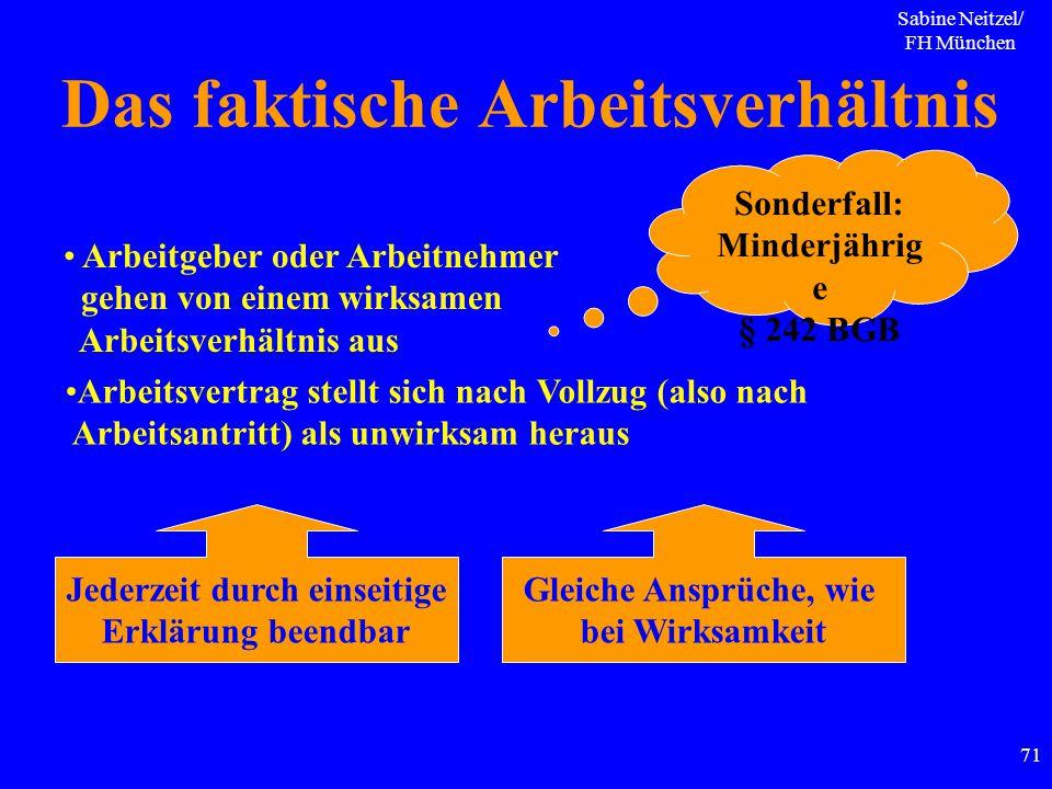 Sabine Neitzel/ FH München 71 Das faktische Arbeitsverhältnis Arbeitgeber oder Arbeitnehmer gehen von einem wirksamen Arbeitsverhältnis aus Arbeitsver