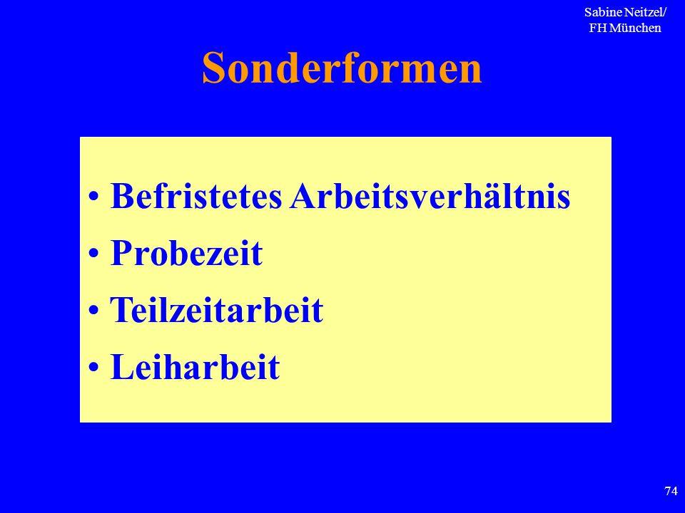 Sabine Neitzel/ FH München 74 Sonderformen Befristetes Arbeitsverhältnis Probezeit Teilzeitarbeit Leiharbeit
