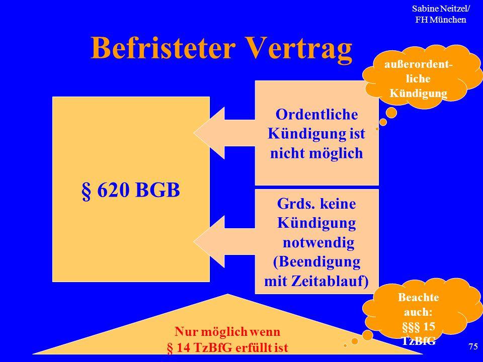 Sabine Neitzel/ FH München 75 Befristeter Vertrag § 620 BGB Ordentliche Kündigung ist nicht möglich außerordent- liche Kündigung Grds. keine Kündigung