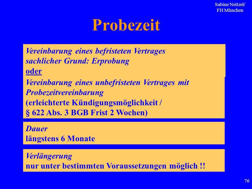Sabine Neitzel/ FH München 76 Probezeit Vereinbarung eines befristeten Vertrages sachlicher Grund: Erprobung oder Vereinbarung eines unbefristeten Ver