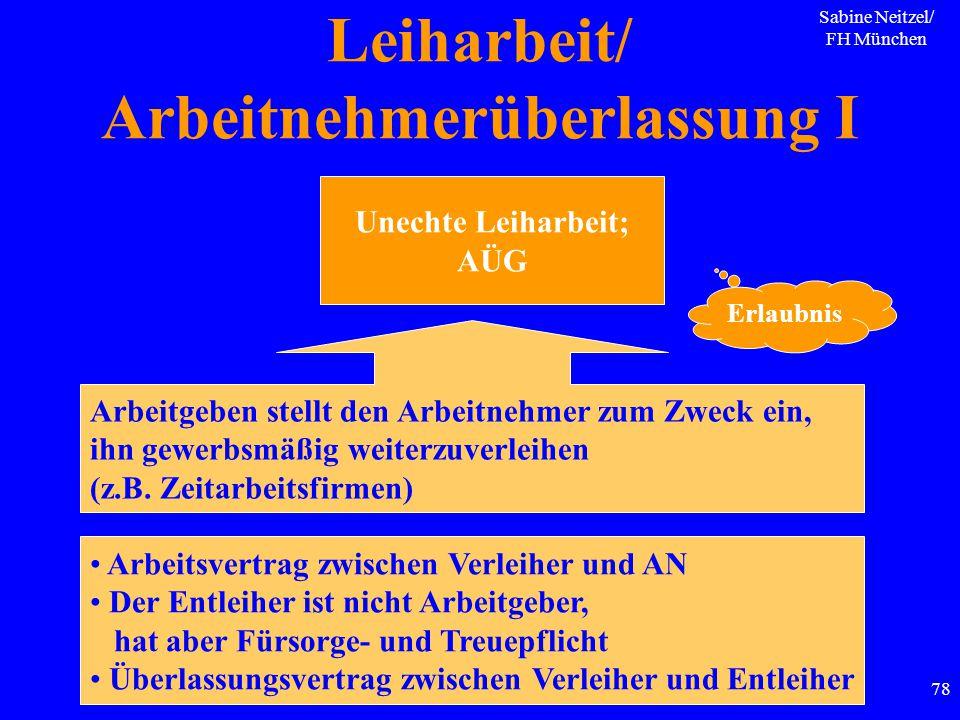 Sabine Neitzel/ FH München 78 Leiharbeit/ Arbeitnehmerüberlassung I Unechte Leiharbeit; AÜG Arbeitgeben stellt den Arbeitnehmer zum Zweck ein, ihn gew