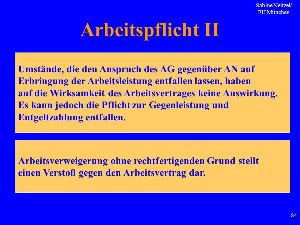 Sabine Neitzel/ FH München 84 Arbeitspflicht II Umstände, die den Anspruch des AG gegenüber AN auf Erbringung der Arbeitsleistung entfallen lassen, ha