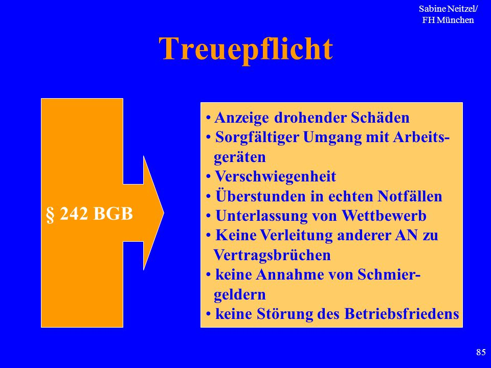 Sabine Neitzel/ FH München 85 Treuepflicht § 242 BGB Anzeige drohender Schäden Sorgfältiger Umgang mit Arbeits- geräten Verschwiegenheit Überstunden i