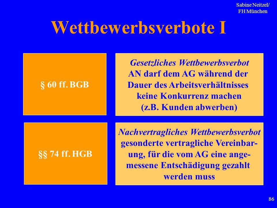 Sabine Neitzel/ FH München 86 Wettbewerbsverbote I § 60 ff. BGB Gesetzliches Wettbewerbsverbot AN darf dem AG während der Dauer des Arbeitsverhältniss