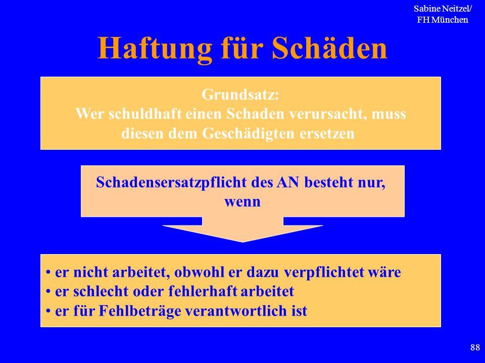 Sabine Neitzel/ FH München 88 Haftung für Schäden Grundsatz: Wer schuldhaft einen Schaden verursacht, muss diesen dem Geschädigten ersetzen Schadenser