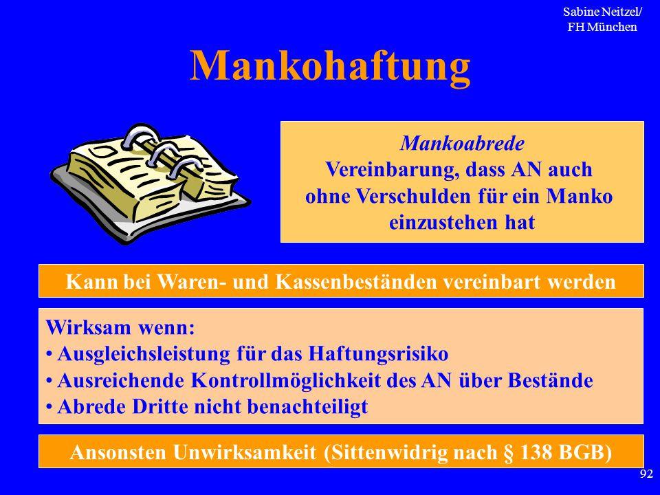 Sabine Neitzel/ FH München 92 Mankohaftung Mankoabrede Vereinbarung, dass AN auch ohne Verschulden für ein Manko einzustehen hat Kann bei Waren- und K