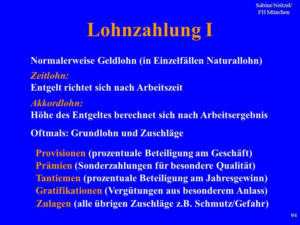 Sabine Neitzel/ FH München 94 Lohnzahlung I Normalerweise Geldlohn (in Einzelfällen Naturallohn) Zeitlohn: Entgelt richtet sich nach Arbeitszeit Akkor