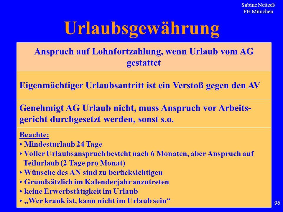Sabine Neitzel/ FH München 96 Urlaubsgewährung Anspruch auf Lohnfortzahlung, wenn Urlaub vom AG gestattet Eigenmächtiger Urlaubsantritt ist ein Versto