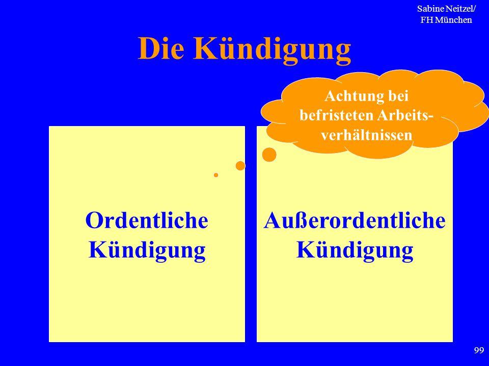 Sabine Neitzel/ FH München 99 Die Kündigung Ordentliche Kündigung Außerordentliche Kündigung Achtung bei befristeten Arbeits- verhältnissen