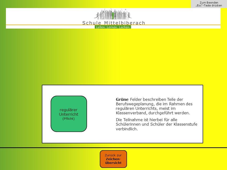 """Zum Beenden """"Esc""""-Taste drücken Grüne Felder beschreiben Teile der Berufswegeplanung, die im Rahmen des regulären Unterrichts, meist im Klassenverband"""