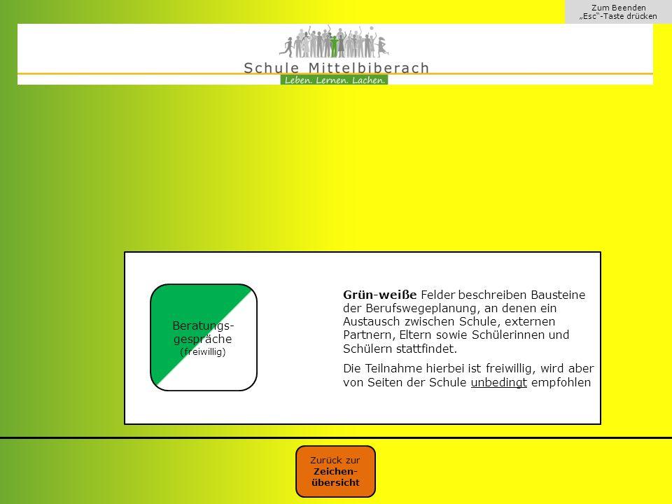 """Zum Beenden """"Esc""""-Taste drücken Grün-weiße Felder beschreiben Bausteine der Berufswegeplanung, an denen ein Austausch zwischen Schule, externen Partne"""