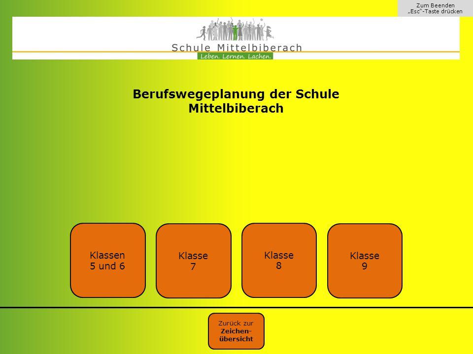 """Zum Beenden """"Esc""""-Taste drücken Berufswegeplanung der Schule Mittelbiberach Zurück zur Zeichen- übersicht Klassen 5 und 6 Klasse 8 Klasse 9 Klasse 7"""