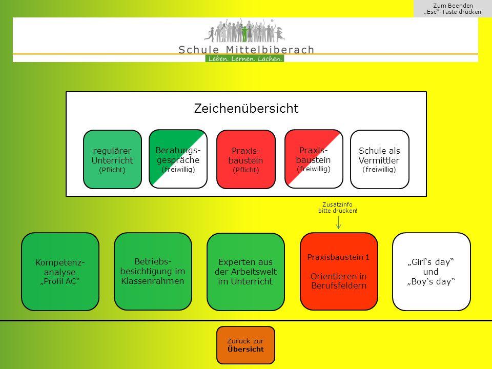 """Zum Beenden """"Esc -Taste drücken Rote Felder beschreiben Praxisbausteine der Berufswegeplanung."""