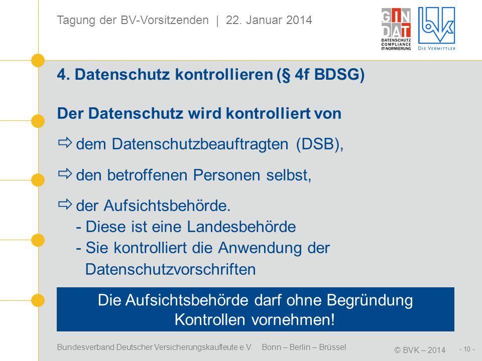 Bundesverband Deutscher Versicherungskaufleute e.V. Bonn – Berlin – Brüssel © BVK – 2014 Tagung der BV-Vorsitzenden | 22. Januar 2014 - 10 - 4. Datens