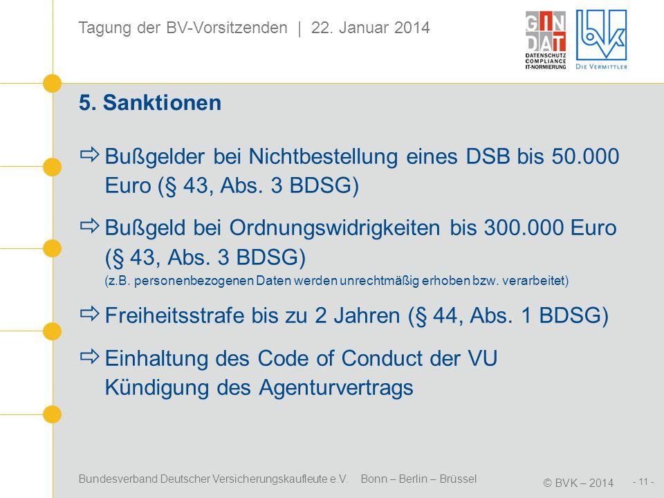 Bundesverband Deutscher Versicherungskaufleute e.V. Bonn – Berlin – Brüssel © BVK – 2014 Tagung der BV-Vorsitzenden | 22. Januar 2014 - 11 - 5. Sankti
