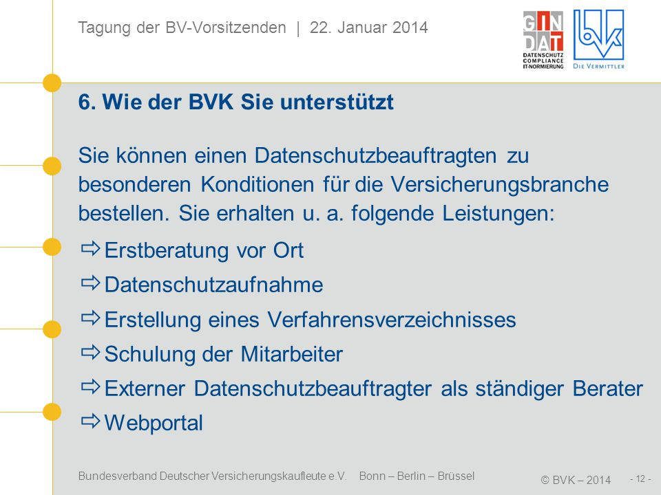 Bundesverband Deutscher Versicherungskaufleute e.V. Bonn – Berlin – Brüssel © BVK – 2014 Tagung der BV-Vorsitzenden | 22. Januar 2014 - 12 - 6. Wie de