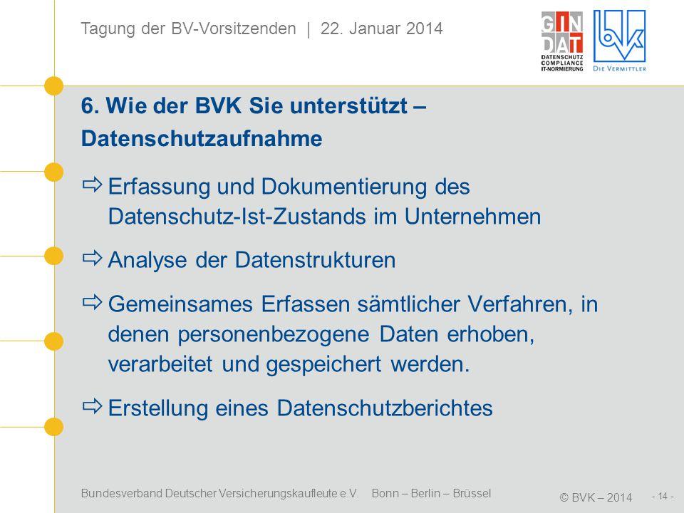 Bundesverband Deutscher Versicherungskaufleute e.V. Bonn – Berlin – Brüssel © BVK – 2014 Tagung der BV-Vorsitzenden | 22. Januar 2014 - 14 - 6. Wie de