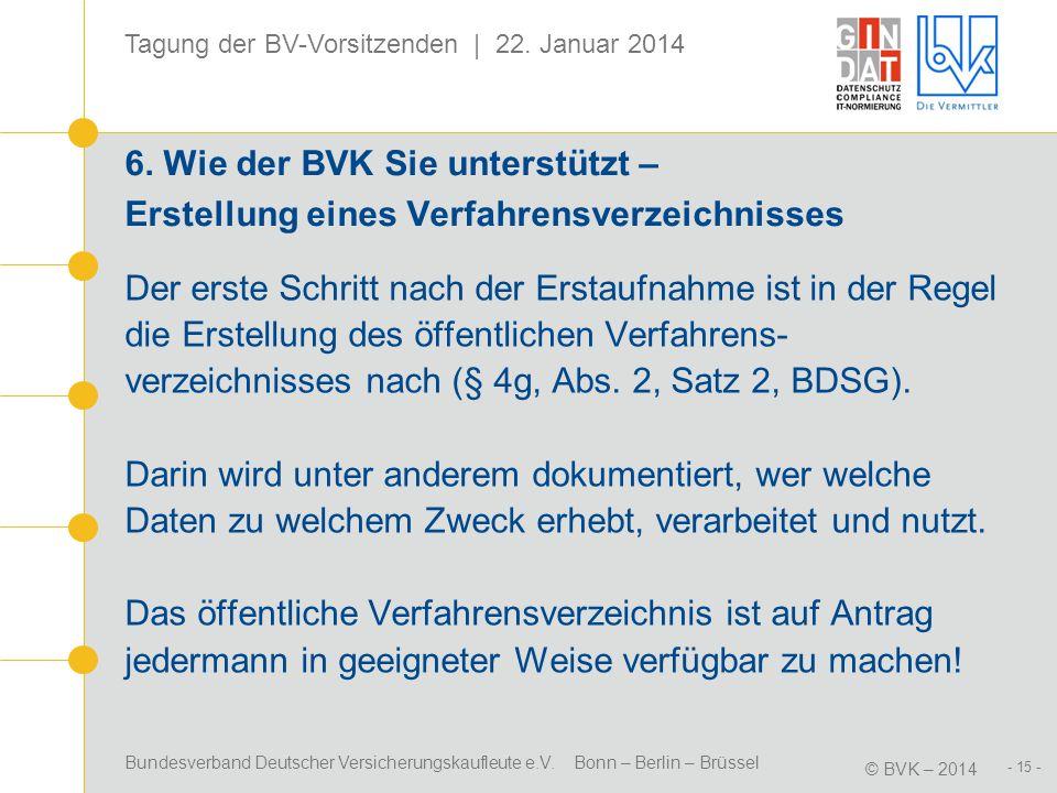 Bundesverband Deutscher Versicherungskaufleute e.V. Bonn – Berlin – Brüssel © BVK – 2014 Tagung der BV-Vorsitzenden | 22. Januar 2014 - 15 - 6. Wie de