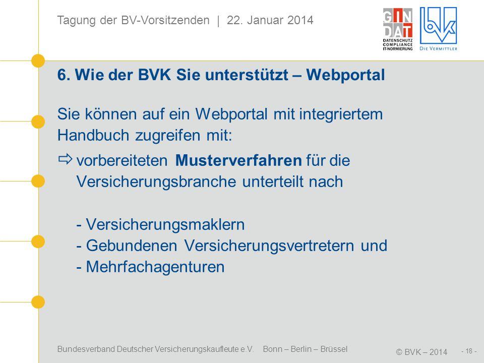 Bundesverband Deutscher Versicherungskaufleute e.V. Bonn – Berlin – Brüssel © BVK – 2014 Tagung der BV-Vorsitzenden | 22. Januar 2014 - 18 - 6. Wie de