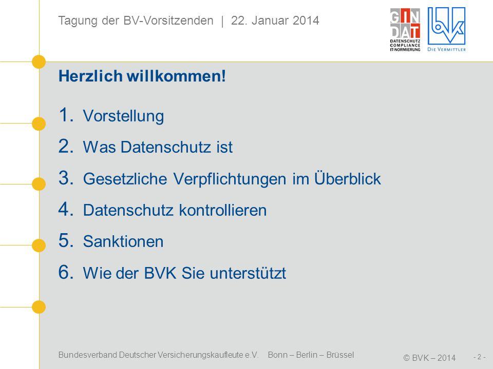 Bundesverband Deutscher Versicherungskaufleute e.V. Bonn – Berlin – Brüssel © BVK – 2014 Tagung der BV-Vorsitzenden | 22. Januar 2014 - 2 - Herzlich w