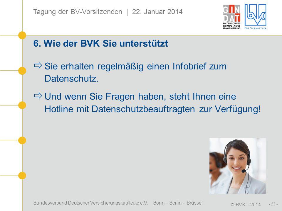 Bundesverband Deutscher Versicherungskaufleute e.V. Bonn – Berlin – Brüssel © BVK – 2014 Tagung der BV-Vorsitzenden | 22. Januar 2014 - 23 - 6. Wie de