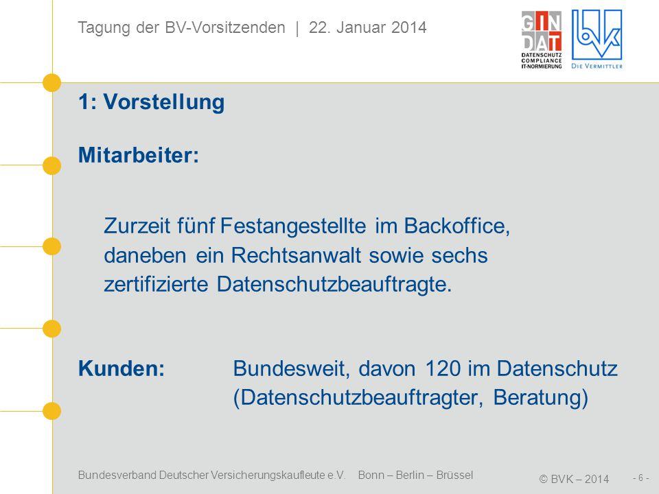 Bundesverband Deutscher Versicherungskaufleute e.V. Bonn – Berlin – Brüssel © BVK – 2014 Tagung der BV-Vorsitzenden | 22. Januar 2014 - 6 - 1: Vorstel