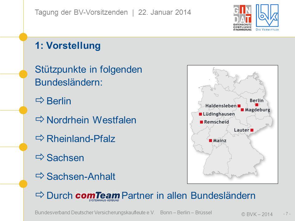 Bundesverband Deutscher Versicherungskaufleute e.V. Bonn – Berlin – Brüssel © BVK – 2014 Tagung der BV-Vorsitzenden | 22. Januar 2014 - 7 - 1: Vorstel