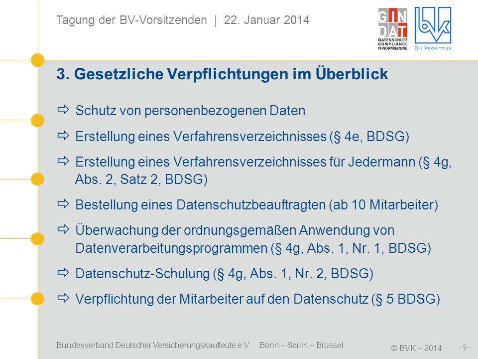 Bundesverband Deutscher Versicherungskaufleute e.V. Bonn – Berlin – Brüssel © BVK – 2014 Tagung der BV-Vorsitzenden | 22. Januar 2014 - 9 - 3. Gesetzl