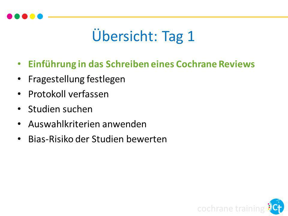 cochrane training Übersicht Vorstellung der Cochrane Collaboration Ziele und Strukutur von Cochrane Reviews Logistik beim Schreiben eines Reviews Siehe Kapitel 1 im Handbuch