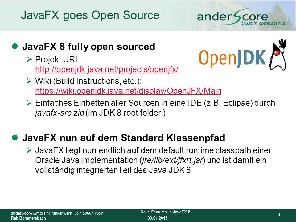 09.01.2015 15 anderScore GmbH Frankenwerft 35 50667 Köln Ralf Bommersbach Neue Features in JavaFX 8 Weitere Features im Überblick lWebView.