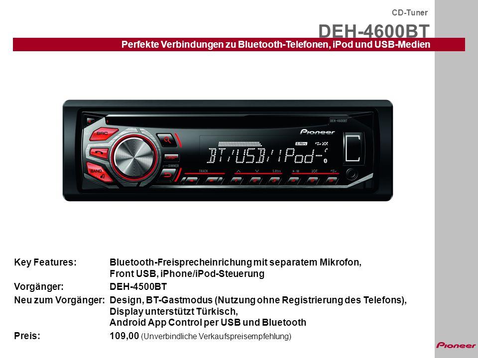 DEH-4600BT CD-Tuner Perfekte Verbindungen zu Bluetooth-Telefonen, iPod und USB-Medien Key Features:Bluetooth-Freisprecheinrichung mit separatem Mikrof