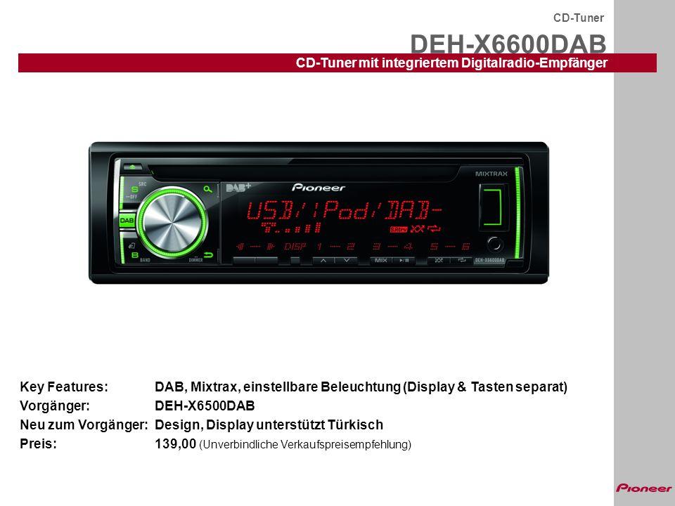 DEH-X6600DAB CD-Tuner CD-Tuner mit integriertem Digitalradio-Empfänger Key Features:DAB, Mixtrax, einstellbare Beleuchtung (Display & Tasten separat)