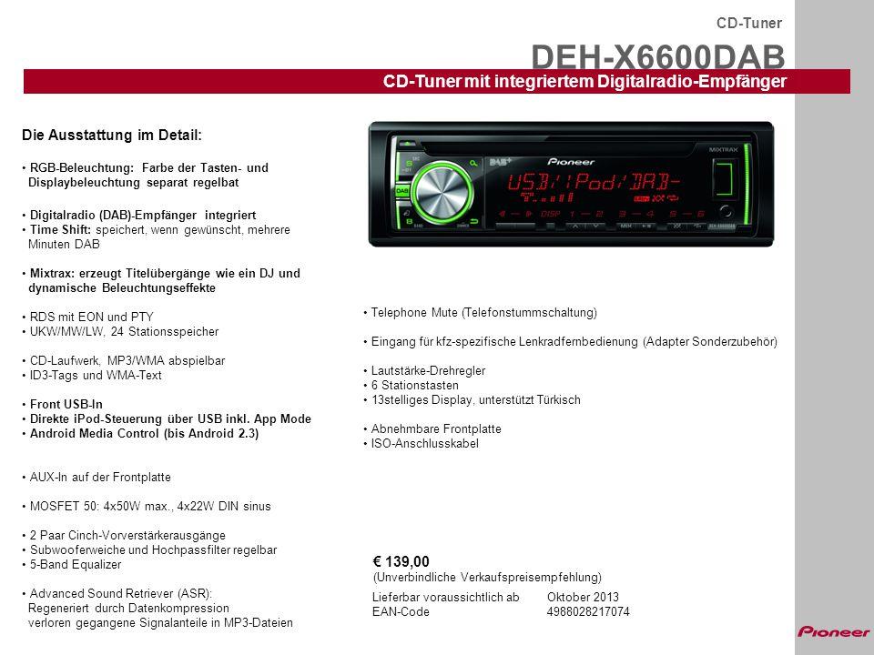 DEH-X6600DAB CD-Tuner CD-Tuner mit integriertem Digitalradio-Empfänger Lieferbar voraussichtlich abOktober 2013 EAN-Code4988028217074 Die Ausstattung