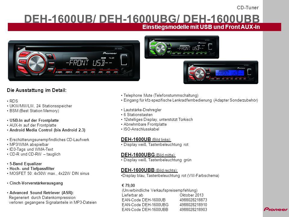 DEH-X6600DABAN CD-Tuner CD-Tuner mit integriertem Digitalradio-Empfänger Lieferbar voraussichtlich ab Oktober 2013 Die Ausstattung im Detail: RGB-Beleuchtung: Farbe der Tasten- und Displaybeleuchtung separat regelbar Digitalradio (DAB)-Empfänger integriert Time Shift: speichert, wenn gewünscht, mehrere Minuten DAB Mixtrax: erzeugt Titelübergänge wie ein DJ und dynamische Beleuchtungseffekte RDS mit EON und PTY UKW/MW/LW, 24 Stationsspeicher CD-Laufwerk, MP3/WMA abspielbar ID3-Tags und WMA-Text Front USB-In Direkte iPod-Steuerung über USB inkl.
