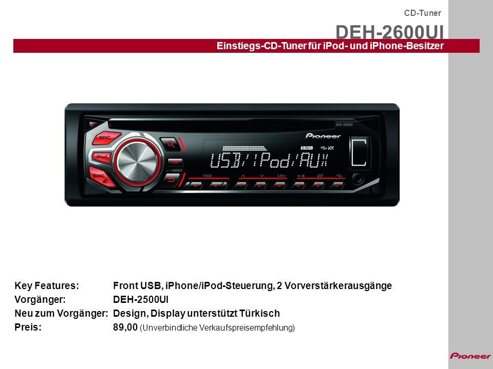 DEH-2600UI CD-Tuner Einstiegs-CD-Tuner für iPod- und iPhone-Besitzer Die Ausstattung im Detail: RDS mit EON und PTY UKW/MW/LW, 24 Stationsspeicher BSM (Best Station Memory) USB-In auf der Frontplatte Direkte iPod/iPhone-Steuerung über USB inkl.