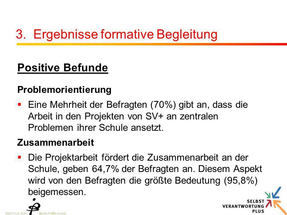 3. Ergebnisse formative Begleitung Positive Befunde Problemorientierung  Eine Mehrheit der Befragten (70%) gibt an, dass die Arbeit in den Projekten
