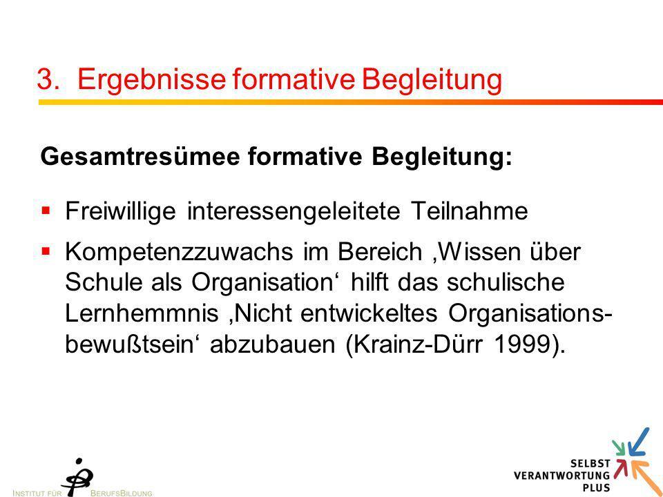 3. Ergebnisse formative Begleitung Gesamtresümee formative Begleitung:  Freiwillige interessengeleitete Teilnahme  Kompetenzzuwachs im Bereich 'Wiss