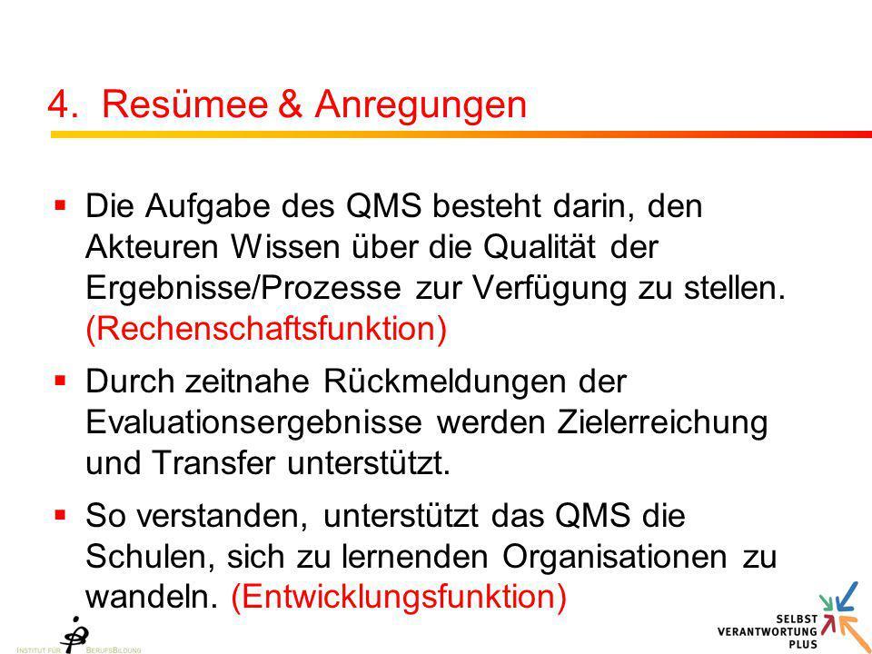 4. Resümee & Anregungen  Die Aufgabe des QMS besteht darin, den Akteuren Wissen über die Qualität der Ergebnisse/Prozesse zur Verfügung zu stellen. (