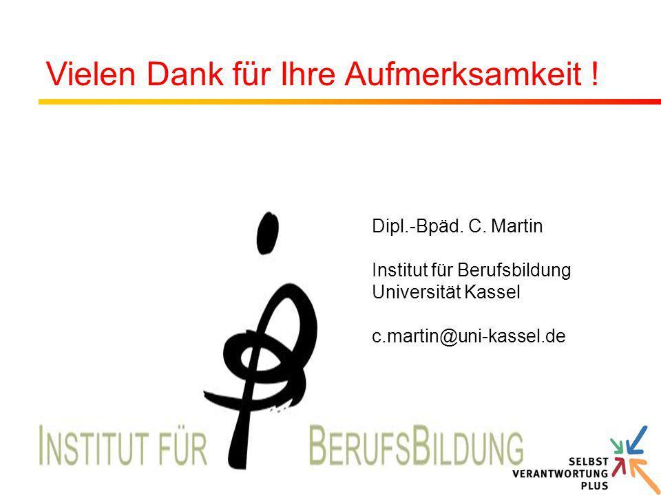 Dipl.-Bpäd. C. Martin Institut für Berufsbildung Universität Kassel c.martin@uni-kassel.de Vielen Dank für Ihre Aufmerksamkeit !