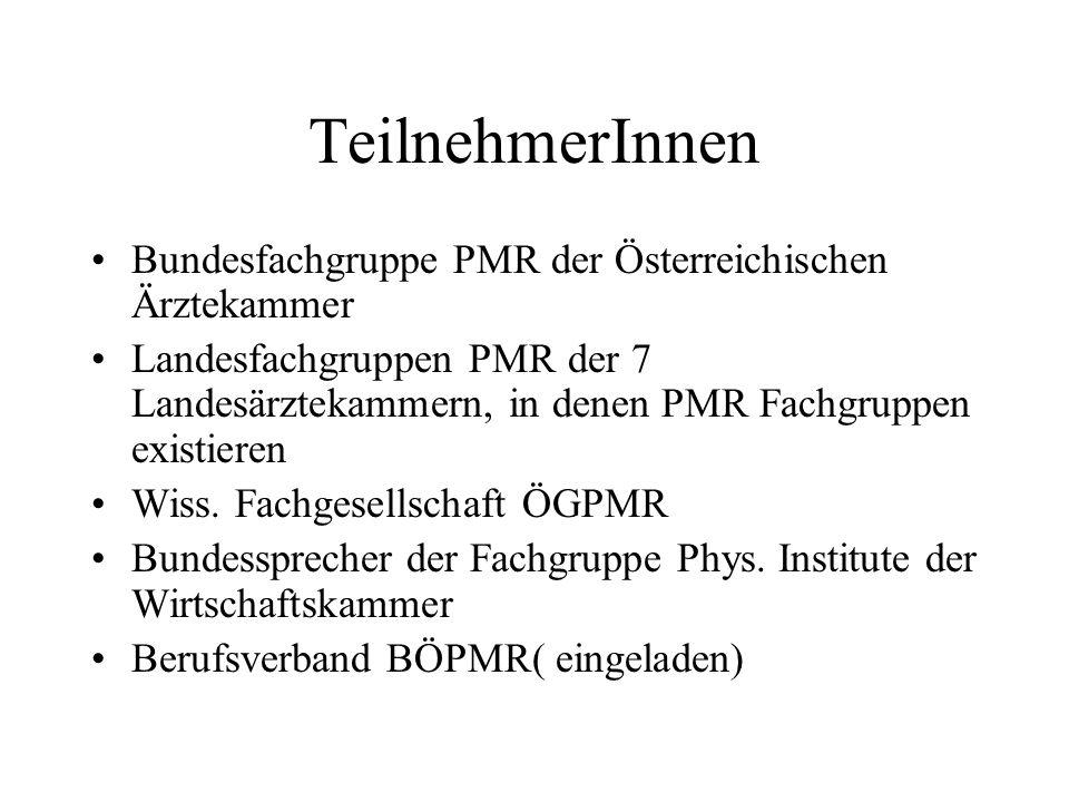 TeilnehmerInnen Bundesfachgruppe PMR der Österreichischen Ärztekammer Landesfachgruppen PMR der 7 Landesärztekammern, in denen PMR Fachgruppen existieren Wiss.