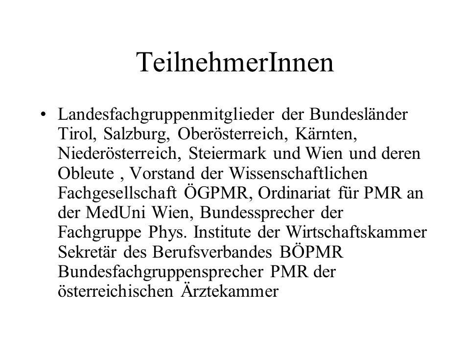 TeilnehmerInnen Landesfachgruppenmitglieder der Bundesländer Tirol, Salzburg, Oberösterreich, Kärnten, Niederösterreich, Steiermark und Wien und deren Obleute, Vorstand der Wissenschaftlichen Fachgesellschaft ÖGPMR, Ordinariat für PMR an der MedUni Wien, Bundessprecher der Fachgruppe Phys.