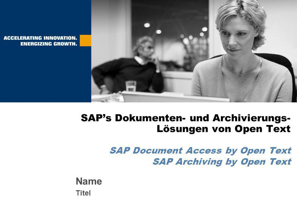 Problemstellung Beschreibung der Lösung Funktionalität SAP Document Access by Open Text Funktionalität SAP Archiving by Open Text Kundennutzen Zusammenfassung
