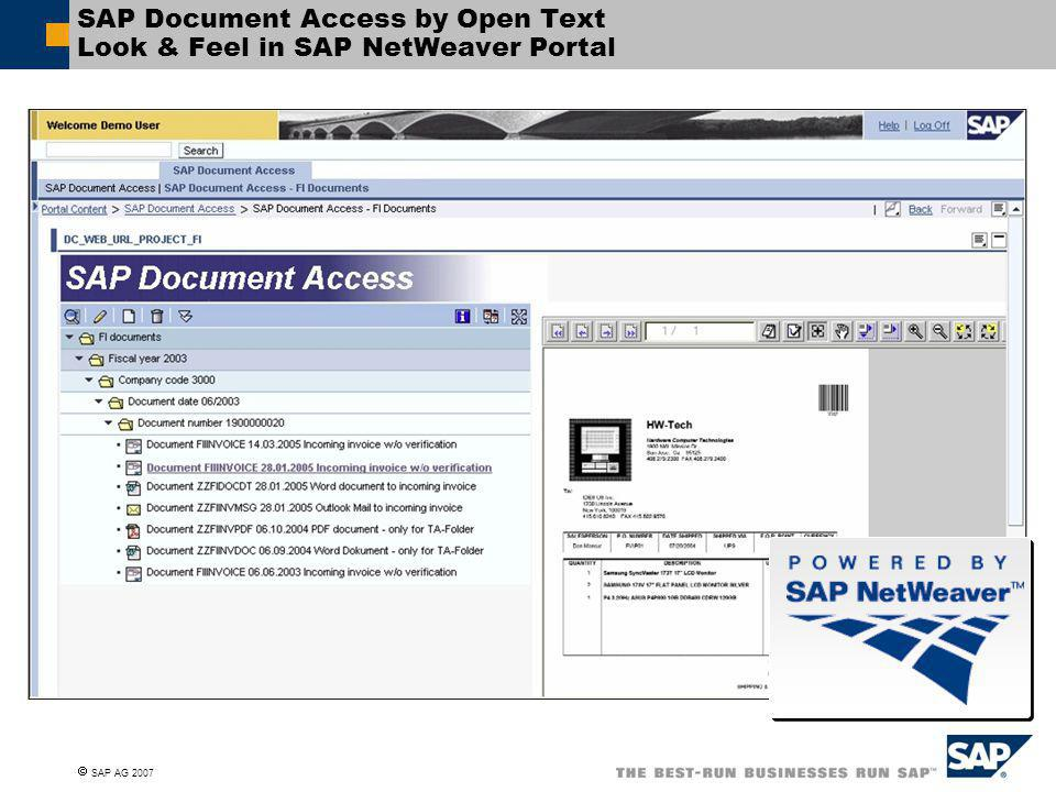  SAP AG 2007 SAP Document Access by Open Text Look & Feel in SAP NetWeaver Portal