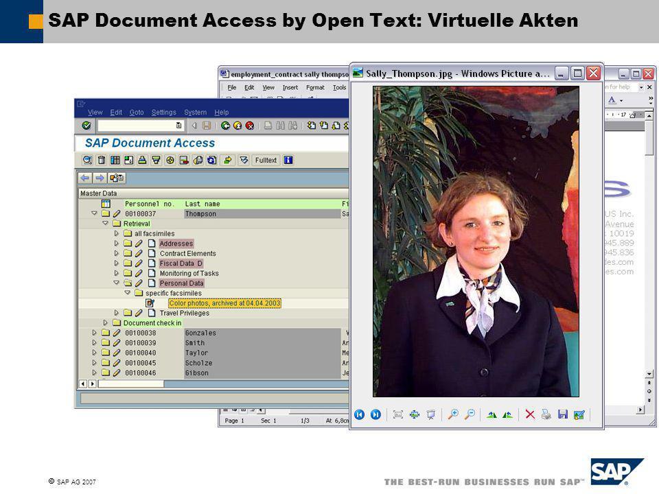  SAP AG 2007 SAP Document Access by Open Text: Virtuelle Akten