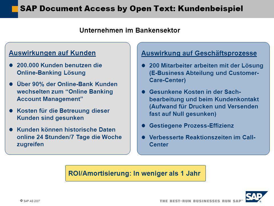  SAP AG 2007 SAP Document Access by Open Text: Kundenbeispiel Auswirkungen auf Kunden 200.000 Kunden benutzen die Online-Banking Lösung Über 90% der