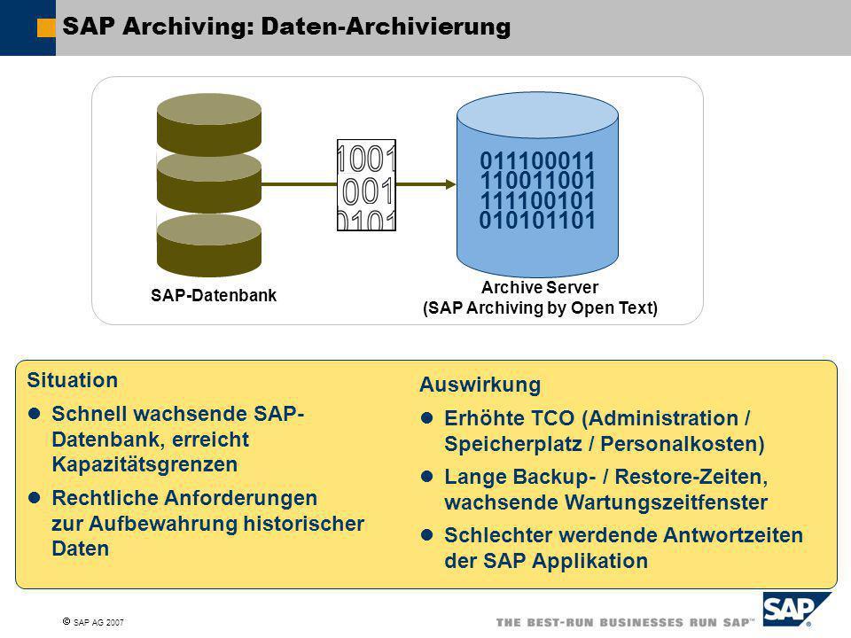  SAP AG 2007 SAP Archiving: Daten-Archivierung SAP-Datenbank Archive Server (SAP Archiving by Open Text) 011100011 110011001 111100101 010101101 Situ